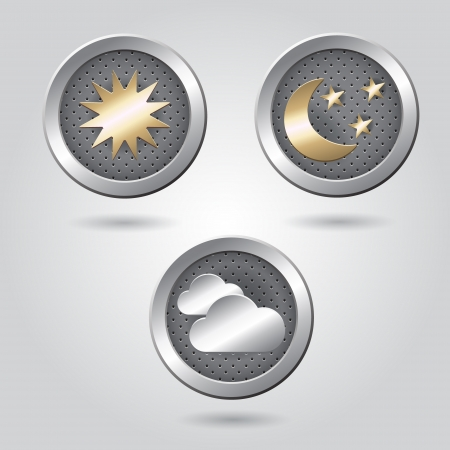 Set of stylish weather icon buttons for web Stock Vector - 19313429