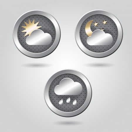 Set of stylish weather icon buttons for web Stock Vector - 19313426
