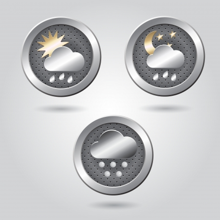 Set of stylish weather icon buttons for web Stock Vector - 19313427