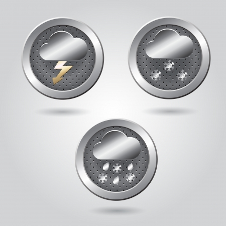 Set of stylish weather icon buttons for web Stock Vector - 19313428