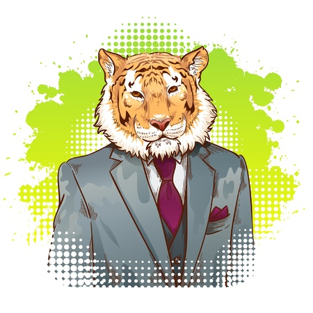Realistic cartoon tiger wearing a tuxedo fantasy drawing