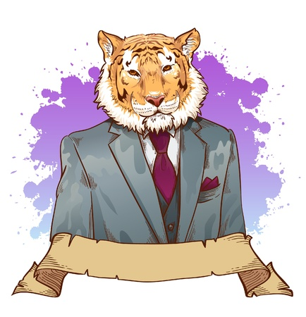 bengal: Realistic cartoon tiger wearing a tuxedo fantasy drawing