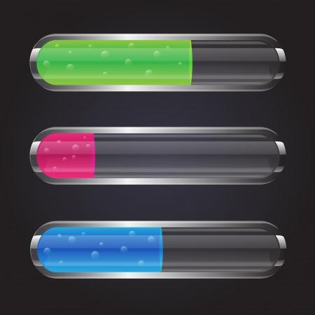 pocion: Frascos de vidrio de color transparente con líquido de burbujas Vectores