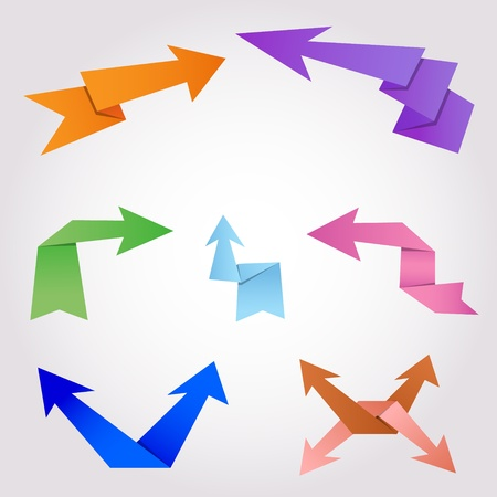 Colorful origami arrows made of folding paper Stock Vector - 19659124
