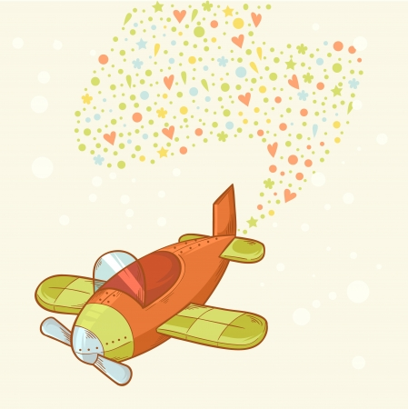 Cute cartoon hand-drawn airplane with colorful love confetti Vector