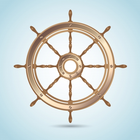 steering: Realistic shiny captain sheep wheel on blue nautical background