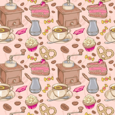 Sweet coffee and candies seamless pattern on beans background Vector