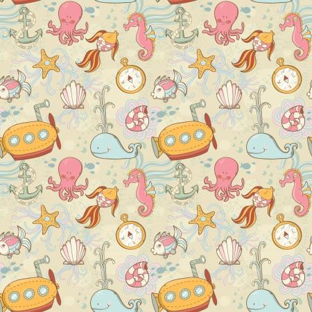 Underwater creatures cute cartoon summer seamless pattern Illustration