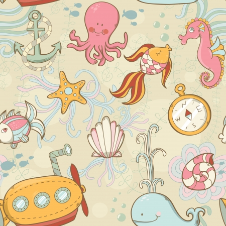 exotic fish: Underwater creatures cute cartoon summer seamless pattern Illustration