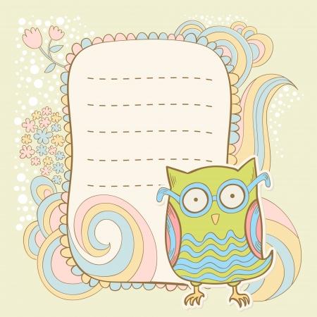 cartoon owl: Cute cartoon owl stylish invitation floral colorful sticker card Illustration
