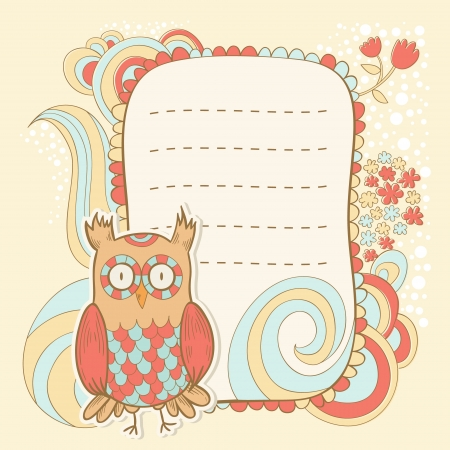 Cute cartoon owl stylish invitation floral colorful sticker card Vector