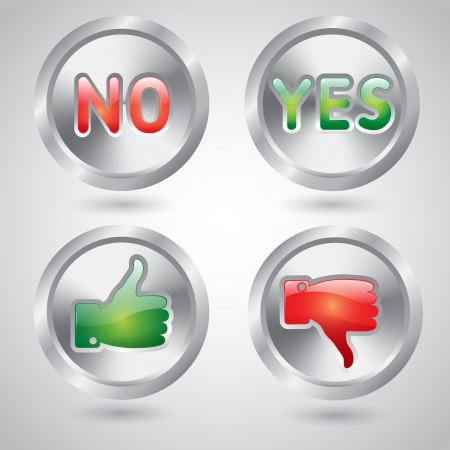Yes and no, thumbs up and down chrome metal web buttons Stock Vector - 20107294