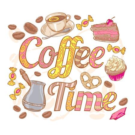 cup cakes: Coffee time colorida tarjeta de invitaci�n con dulces, habas y fuente remolino
