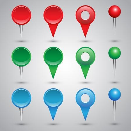 note of exclamation: Coloridos web botones, casillas de verificaci�n, punteros y pasadores de oficina Vectores