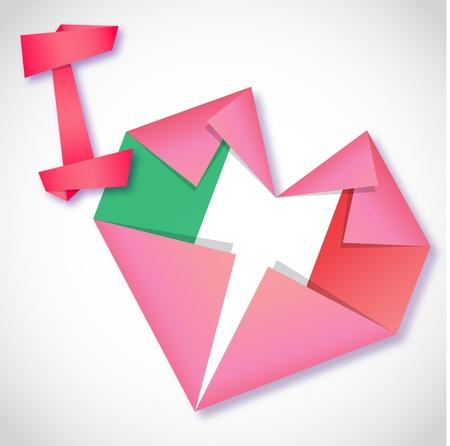 Origami paper I love Italy heart card Vector