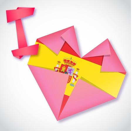 Origami paper I love Spain heart card Stock Vector - 20107355