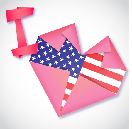 Origami paper I love USA heart card Vector