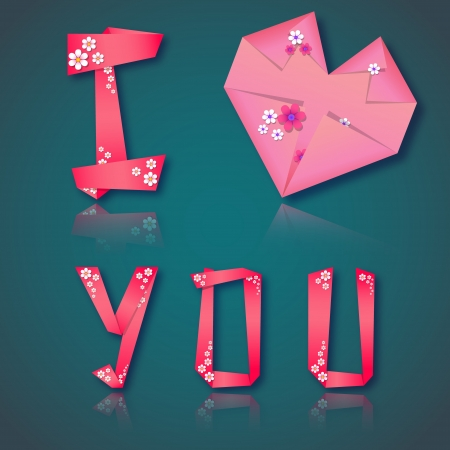 Origami paper floral love  card with text and heart Vector
