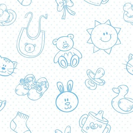 teddy bear cartoon: Baby toys cute cartoon set on polka dot seamless pattern Illustration