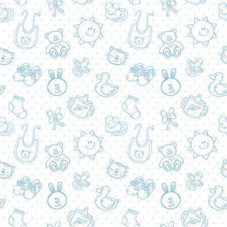Baby toys cute cartoon set on polka dot seamless pattern Illustration