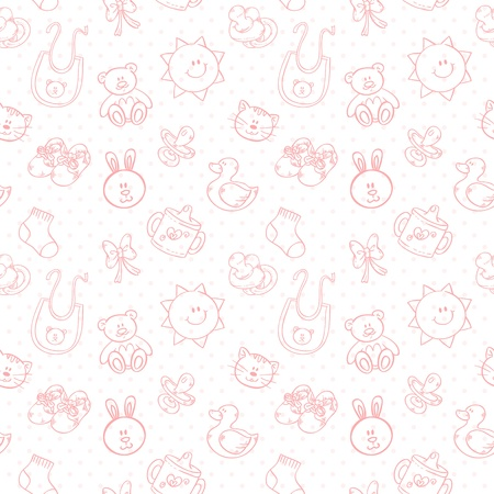 Baby toys cute cartoon set on polka dot seamless pattern Ilustrace