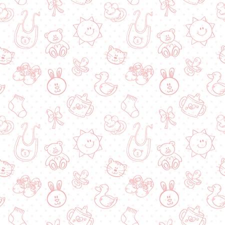 baby ducks: Baby toys cute cartoon set on polka dot seamless pattern Illustration