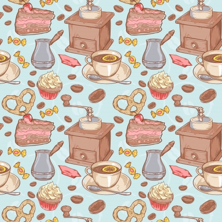 turkish dessert: Sweet coffee and candies seamless pattern on beans background Illustration