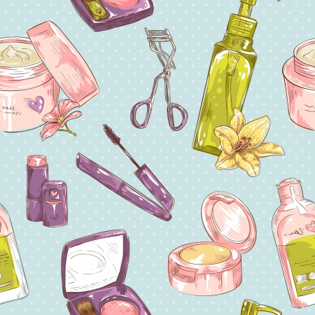 Set of make-up object cute girl collection seamless texture Illustration