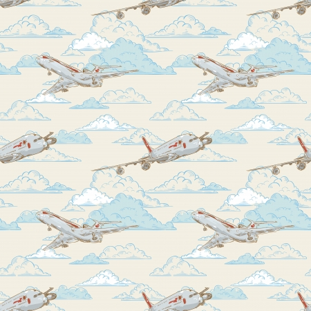 plain postcards: Airplanes on cloudy backgorund card