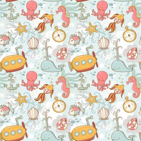 Underwater creatures cute cartoon seamless pattern  イラスト・ベクター素材