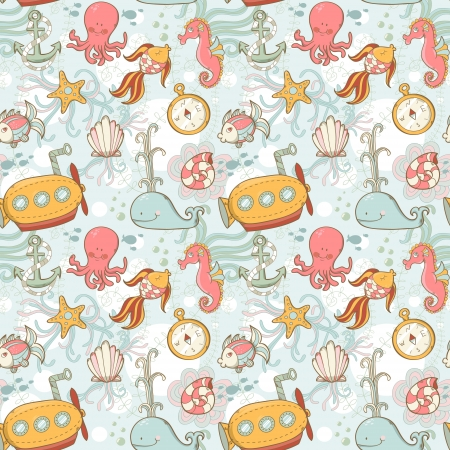 Underwater creatures cute cartoon seamless pattern Vector