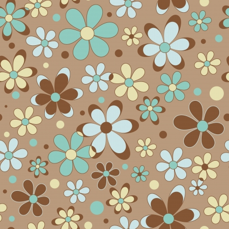 Colorful summer seamless pattern with flowers and dots Stock Vector - 20107417