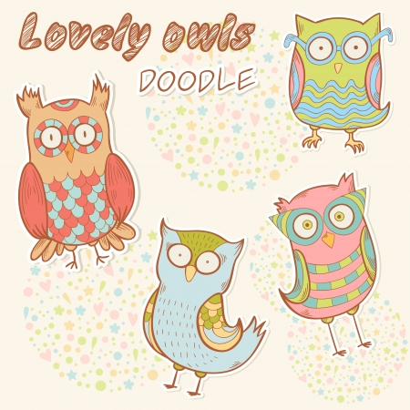 Cute cartoon owl stylish sticker set collection Vector