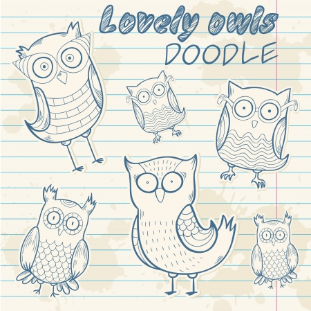 Cute cartoon owl stylish sticker doodle set collection on notepaper background Vector
