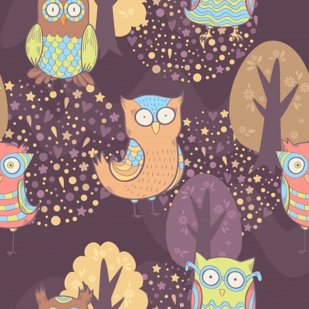 Cute cartoon owls fantasy coloful pattern with trees Vector