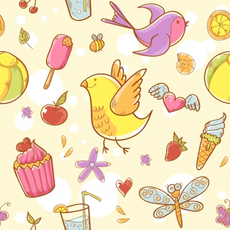 Summer colorful doodle seamless pattern with birds, flowers, cakes and hearts Stock Vector - 20150642