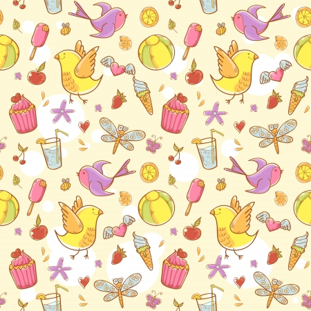 Summer colorful doodle seamless pattern with birds, flowers, cakes and hearts Vector