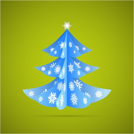 Paper origami christmas tree with snowflakes postcard Vector