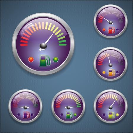 indicator board: Glass realistic sensor gasoline