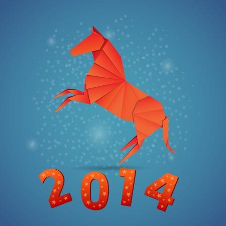Neues Jahr Origami-Papier Pferd 2014 Feier-Karte Standard-Bild - 20617746