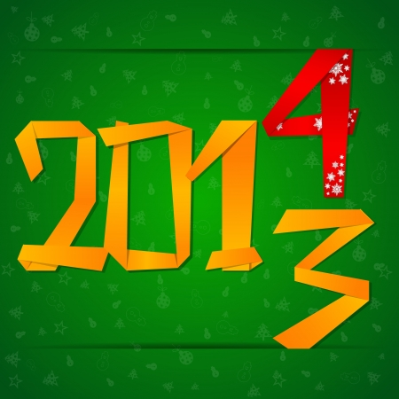 2014 New Year celebration card with origami paper figures falling down Vector