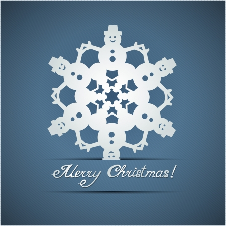 Paper origami christmas snowflake card with snowman Vector