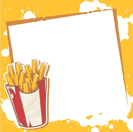 announcement icon: Advertisment invitation card with delicious french fries