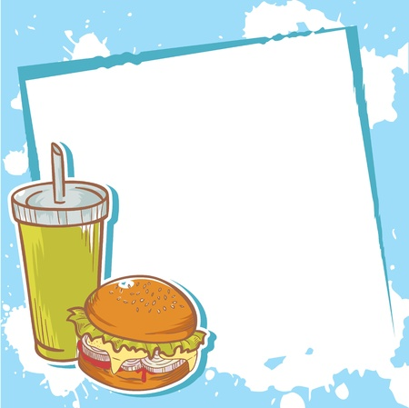 Advertisment invitation card with delicious hamburger Vector
