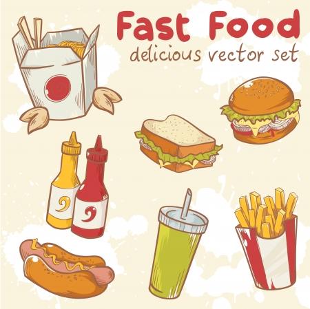 ファーストフードおいしい手描きハンバーガー、ホットドッグとフライド ポテトを持つベクトルを設定  イラスト・ベクター素材