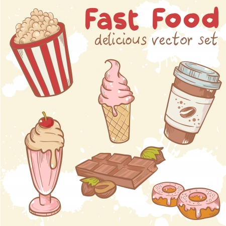 Fastfood delicious hand drawn vector set with tasty sweets, ice cream, Popcorn and chocolate