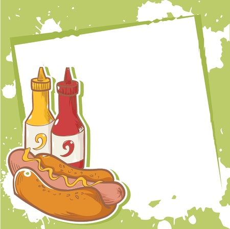 eating fast food: Advertisment invitation card with delicious hotdog Illustration
