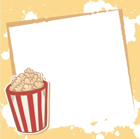 Advertisment invitation card with delicious popcorn Vector