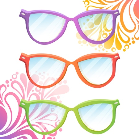 Set of trendy hipster transparent glasses of various colors on summer floral background Stock Vector - 20926626