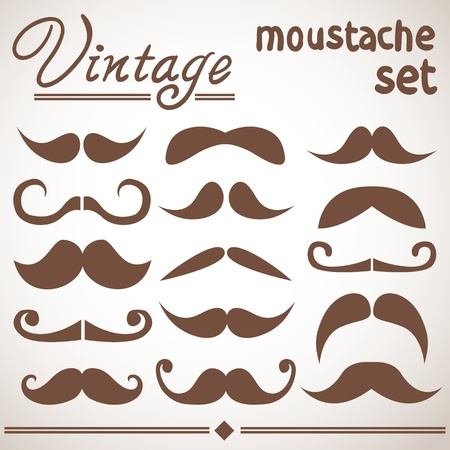 Vintage hipster moustache collection Stock Vector - 20926631